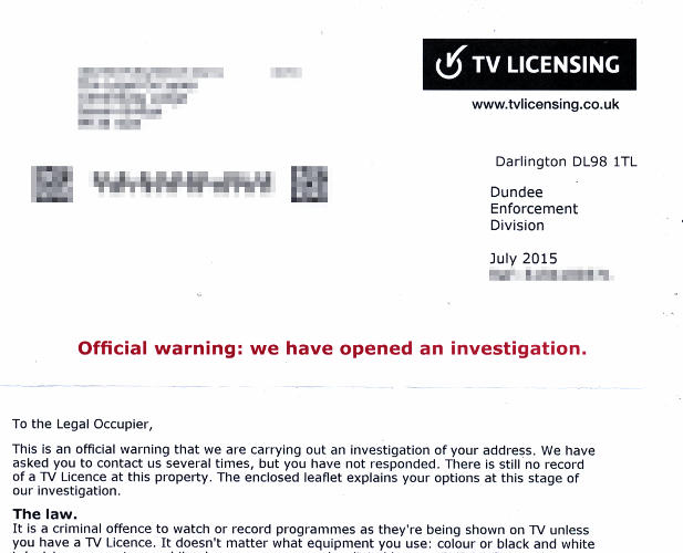 Harassed by TV Licensing