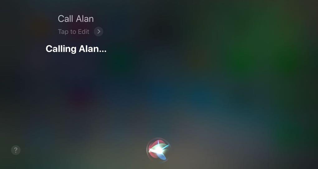 Siri making a phone call on iPhone