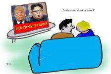 Trump Kim talks cartoon