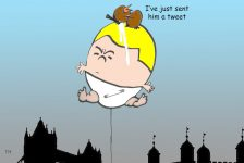 Trump balloon cartoon