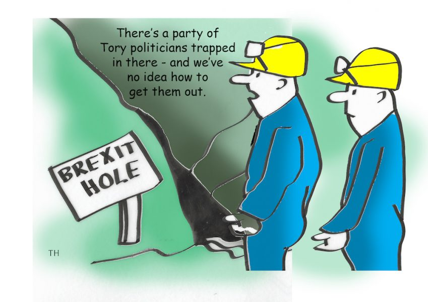 Trapped Brexit Tory cartoon