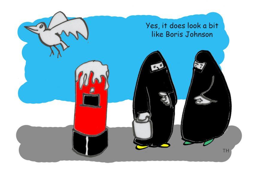 burkha Boris Johnson cartoon