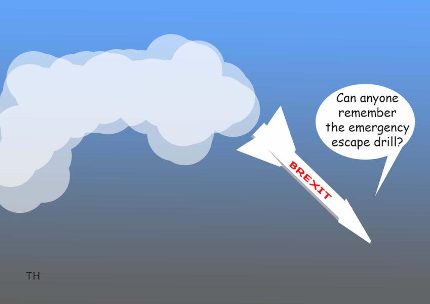 Emergency escape Brexit cartoon