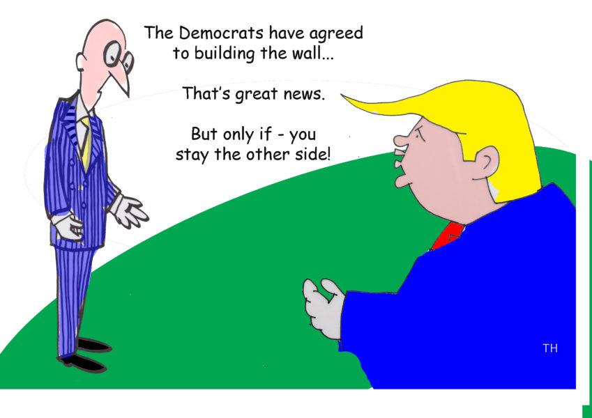 Trump wall cartoon