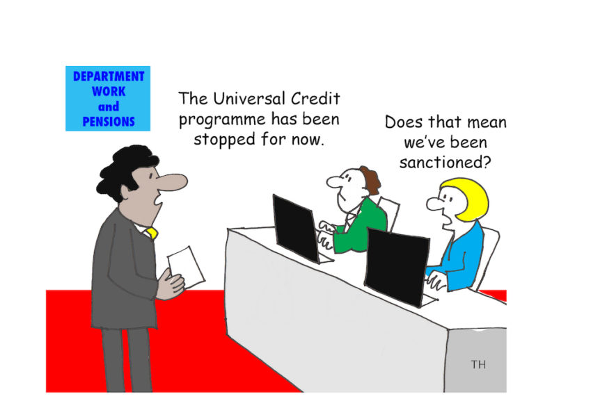 sanction Universal credit cartoon