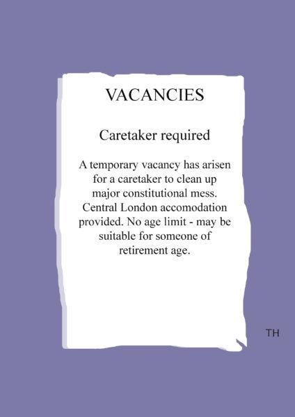Job advert caretaker Prime Minister