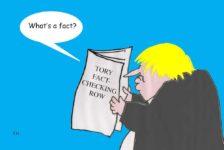 Tory fact checking row cartoon