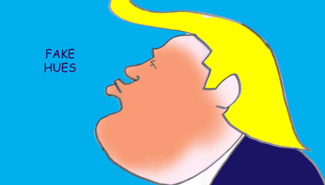 Ted Harrison cartoon on Donald Trump tan line