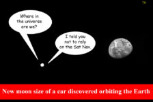 Ted Harrison cartoon on the news Earth has acquired a brand new moon that's about the size of a car