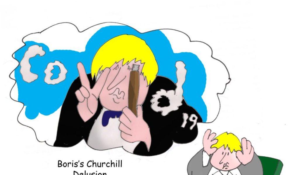 Ted Harrison cartoon on Boris Johnson's Churchill delusion
