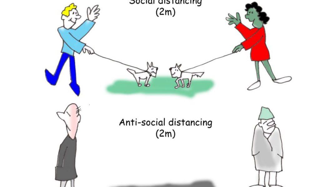 Coronavirus social distancing cartoon