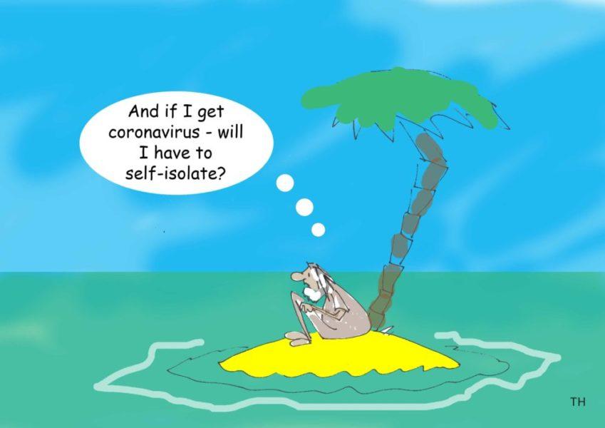 Coronavirus cartoon and the call to self-isolate