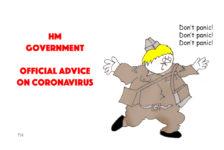 Ted Harrison cartoon on the UK government coronavirus action plan