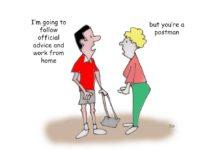 Ted Harrison cartoon on the coronavirus advice to work from home
