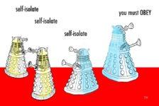 Ted Harrison cartoon on self-isolate advice