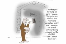 Ted Harrison cartoon on the early release of low risk prisoners during the coronavirus pandemic