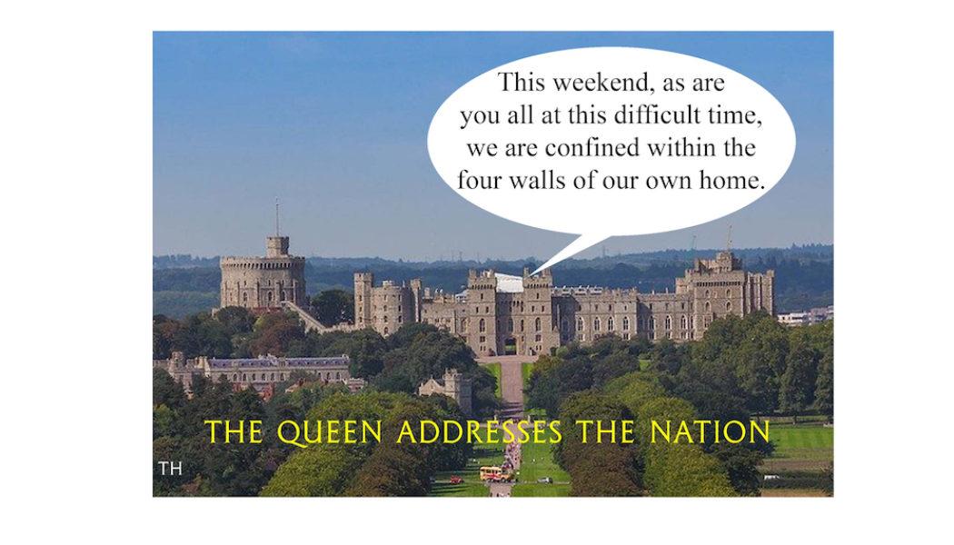 Ted Harrison cartoon on the Queen addressing the nation on coronavirus