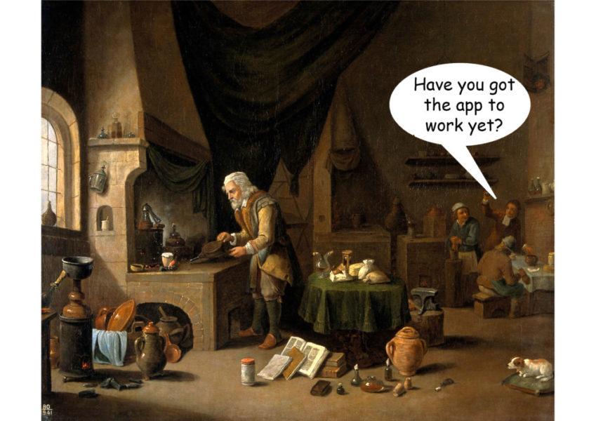 An Alchemist in his laboratory - artist unknown