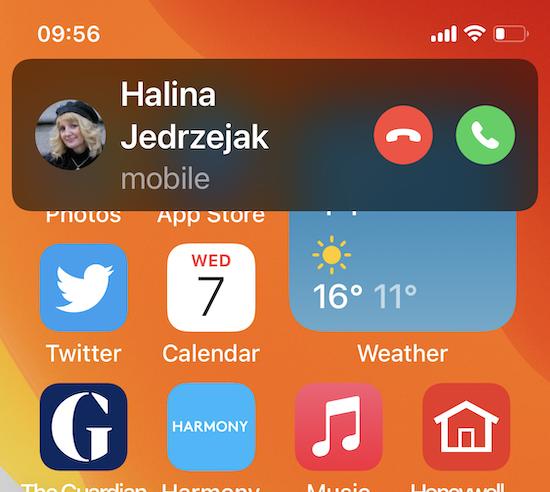 IOS 14 compact phone calls